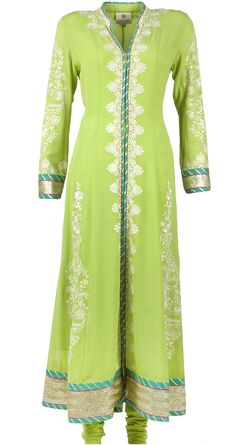 Patine Apple green embroidered anarkali