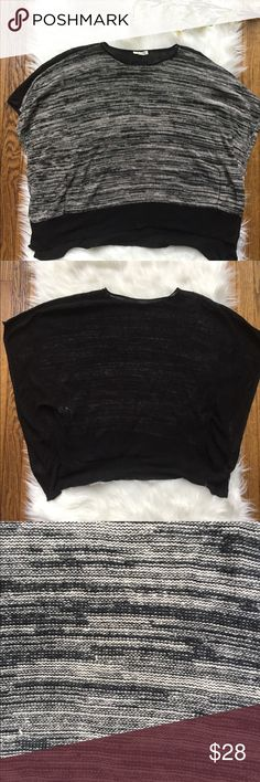 """Eileen Fisher Black White Chunk Knit Open Side Top Preowned chunk knit sleeveless blouse Oversized boxy hi-lo top style  Open and wide meshy side arm holes Sleeves hit around the elbow due to the wide drape Color: white and black Gently used condition. Tiny snag and a hole on the back near the neckline. Otherwise still has lots of life left Size OS Fabric Organic linen  Approximately measurements while flat, unstretched: Pit to pit: 17"""" Length: 23"""" (front of the shirt-top of shoulder to…"""