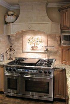Tile Backsplash Designs For Kitchens subway tile back splash shelf, wolf range & hood - designer