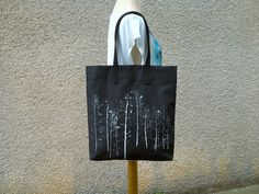 Day bag,Black and white tote, Modern Art tote Bag, Hand painted bag,Cotton canvas bag, Art tote, Art bags tote, Birthday Tote Bag, Mom gift