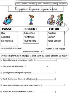 Travailler le passé, le présent, le futur avec les marqueurs de temps (adverbes, locution, terminaison des verbes...)   Corrigé :  1) présent  2) passé  3) futur  4) passé  5) futur  6) présent