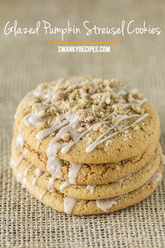 Decadent pumpkin sugar cookies made with real pumpkin and drizzled with pumpkin icing and a delicate streusel topping.  These cookies are soft and chewy and have plenty of pumpkin flavor packed into a simply delicious cookie.