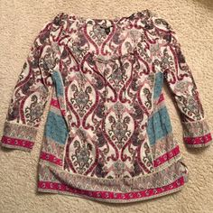 Xmas special ‼️Lucky top Colorful paisley top by Lucky. NWOT. It is a large but fits like a XL. V neck and 3/4 length sleeves. Lucky Brand Tops Blouses