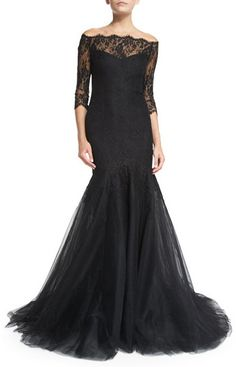 Monique Lhuillier Off-the-Shoulder Chantilly Lace Mermaid Gown