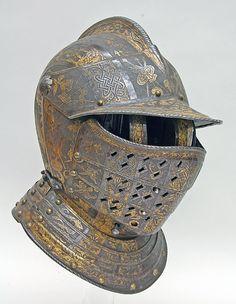 Close helmet with falling buffe  Attributed to Pompeo della Cesa  (Italian, Milan, ca. 1537–1610)