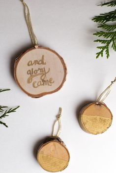These wood slice ornaments are rustic, organic, and a touch of gold glam. With a few steps, they're simple to make.