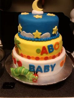 Storybook Cake...top layer is Goodnight Moon, middle layer is Chicka Chicka Boom Boom, and bottom layer is The Very Hungry Caterpillar
