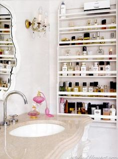 Spice rack for beauty products in tiny bathroom