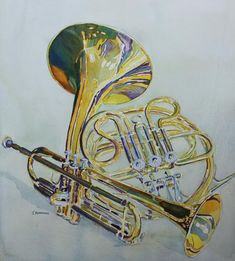 Classic Brass, Watercolor of a French Horn and Trumpet by Jenny Armitage
