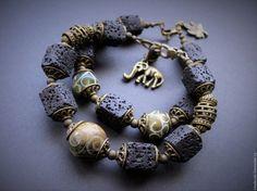 Купить Браслеты 2шт Нефрит и Лава - браслет с камнями, натуральные камни, браслет из камней