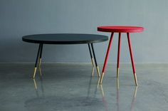 Bethan Gray - Leather and brass Brogue Tables