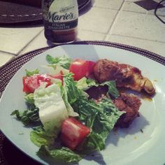 Dinner! Chicken breast and meat with salad and Marie's Italian Vinaigrette