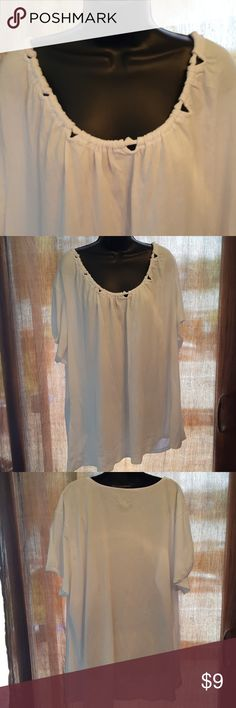 "White Nice white T shirt type with a classy neckline.  Length 31"" Bust measures up too 56 Partial elastic on sleeves for comfort. NWOT. Tops Tees - Short Sleeve"