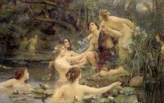 Hylas and the Water Nymphs by Henrietta Rae. In Greek Mythology, the Naiads were a type of nymph who presided over fountains, wells, springs, streams, and brooks. Naiads were associated with fresh water, as the Oceanids were with saltwater and the  Nereides specifically with the Mediterranean. The essence of a naiad was bound to her spring, so if a naiad's body of water dried, she died. Naiads could be dangerous and were also known to exhibit jealous tendencies.