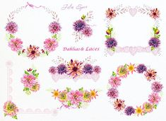 Dahlias & Laces. The set of 8 high quality hand painted watercolor floral Bouquets and Wreaths.  You can print these watercolor elements to create your project. They are perfect for: Scrapbooking, Posters, Invitations, Cards, Wedding theme, Paper Crafting, DIY projects and more..  Separate Elements of Dahlias & Laces from this set here: https://www.etsy.com/listing/509682330/  YOU WILL RECEIVE ♡ ♡ ♡ ♡ ♡ ♡ ♡ ♡ ♡ ♡ ♡ ♡ ♡ 8 PNG files with transparent background, ...