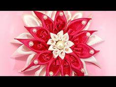 How to Make Satin Ribbon Flower | DIY Kanzashi Flower Hairclip | Kanzashi Flower Making Tutorial - YouTube