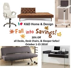 All of our desks, desk chairs and sleeper sofas are 20% off Now-10.15.16! #houston #texas #modern #contemporary #home #design #sale #office #sofa #furniture #shopsmallbusiness #shoplocal