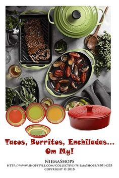 Tacos, Burritos, Enchiladas...Oh My! (click white dots for more) Necessities to make your favorite Mexican dishes; Prepare sizzling fajita fixings, then bring them hot and fresh to the table with enameled cast-iron platter. The black-enameled surface requires no pre-seasoning and retains high heat for perfect searing. Also pictured;  Certified International Hot Tamale 4-pc. Soup Bowl Set & Glazed Tortilla Warmer in Red |  #Mexicancookware #Mexicanfoodprep #shopthelook #ShopStyle