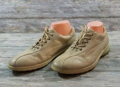 ECCO Sneakers Womens Size 10 10.5 M EUR 41 Beige Leather Shoes #ECCO #WalkingHikingTrail