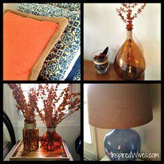 Bedroom with pops of royal blue and orange.  So cute.