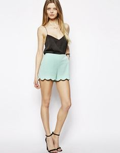 Image 1 of ASOS Shorts with Scallop Hem