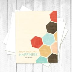 Jane Austen Print - Know Your Own Happiness - Geometric Honeycomb Southwest Inspired Aqua Red Brown. $15.00, via Etsy.