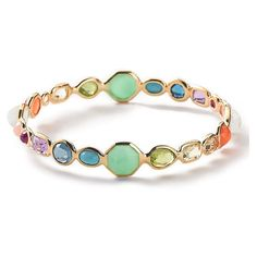 Ippolita Mini Multi Lollipop Bracelet ($4,500) ❤ liked on Polyvore featuring jewelry, bracelets, summer rainbow, 18k jewelry, 18 karat gold jewelry, ippolita, clear jewelry and 18k bangle
