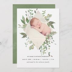 Shop Watercolor Greenery Birth Announcement Photo Card created by partypeeps. Newborn Birth Announcements, Birth Announcement Photos, Robinson Family, Baby Birth, Newborn Photos, Photo Cards, Invitation Cards, Greenery, New Baby Products