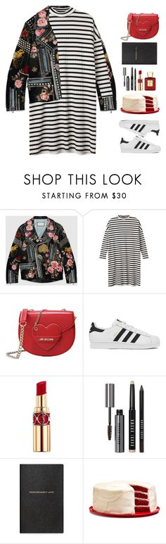 """""""Untitled #1391"""" by timeak ❤ liked on Polyvore featuring Gucci, Monki, Love Moschino, adidas, Yves Saint Laurent, Bobbi Brown Cosmetics, Smythson and Bella Bellissima"""