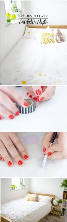 DIY - Duvet Cover | Confetti Style! By Rachel, of OH NO Rachio for Poppytalk