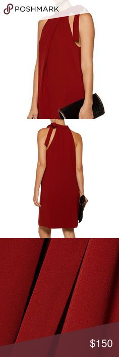 "Theory Espere Admiral Tie-Neck A-line Dress •	Theory ""Espere"" dress in Red Oak Admiral Crepe. •	High neckline; self-tie bow at left. •	Sleeveless; cut-in shoulders. •	A-line silhouette. •	Straight hem. •	Pullover style. •	Triacetate/polyester. •	Polyester lining. •	Dry clean. •	Imported. Theory Dresses Midi"