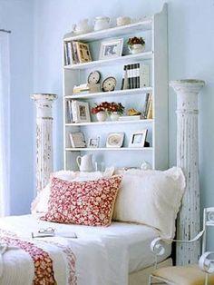 Book Shelf and Pillars Headboardhttp://buyersagent.com/blog/best-diy-headboard-ideas-for-your-home/