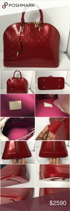 100% Authentic Louis Vuitton Vernis Alma Gm 100% Authentic Louis Vuitton Monogram Vernis Alma Gm with Dust Bag, Lock and Key. Pre-Owned bag in Excellent used condition. No rip, no crack,no tears on the canvas. Very clean inside. No bad odor. Handle, Leather Bottom and corners has sign of normal wear. Minimal scratches on hardware and light wear in exterior. No major wear. MADE IN FRANCE DATE CODE MI1058 ( 15 weeks of 2008 )  Please check all the pictures.- In order to avoid unnecessary - no…