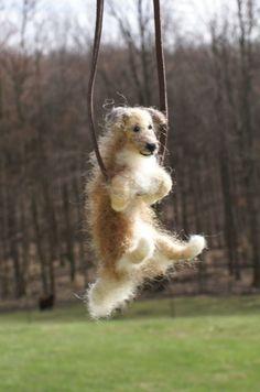 motleymutton - needle felted dog