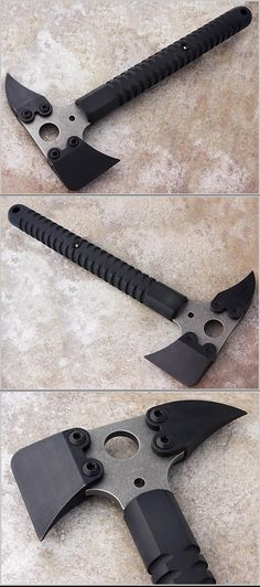 Strider CR Breacher's Axe   Over All Length 16 in 	  	  Blade Length 	 7 in  Blade Material  S7 Steel 	  	  Frame Material  Titanium 	  	Kydex Sheath  Weight   2 lbs 9 oz