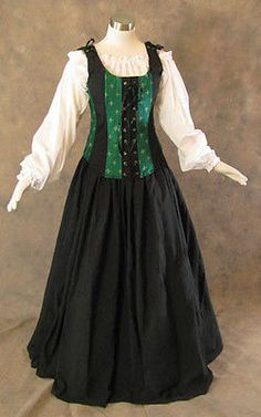 Green-Renaissance-Bodice-Skirt-Chemise-Medieval-Pirate-Gown-Dress-LARP-XL