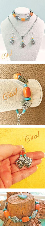 Orange & Turquoise Jewelry Set by C'sta!