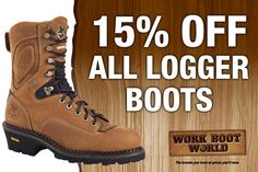 Get 15% off all logger boots at www.workbootworld.com. Includes all regular priced logger boots. Offer valid through Wednesday April 8th, 2015. Must use promo code: WBWLOGGING0415