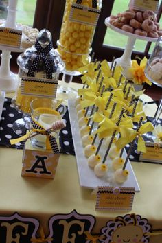 Sweet Simplicity Bakery Bumblebee Baby Shower Mommy To Bee Themed Dessert Candy Chocolate Display Buffet Table