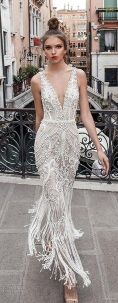 julie vino spring 2018 bridal sleeveless deep plunging v neck full embellishment glamorous elegant sheath wedding dress open v back (07) mv