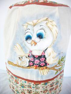 Capa para galão de água de 20 litros, pintado à mão, confeccionado em tecido de algodão.