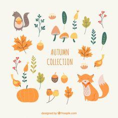 Ensemble d'éléments d'automne aux couleurs chaudes Vecteur gratuit