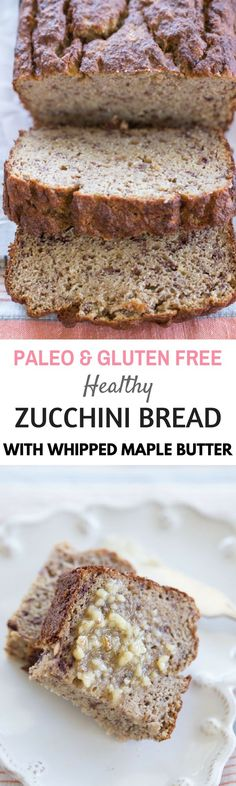 Heathy paleo zucchini bread loaf. Healthy gluten free best bread recipes for the paleo diet.