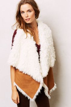 Fancy - Shearling Swing Vest - anthropologie.com