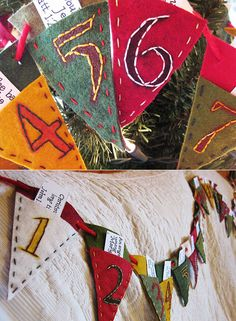 advent calendar pennant with little pieces of scripture in each pocket