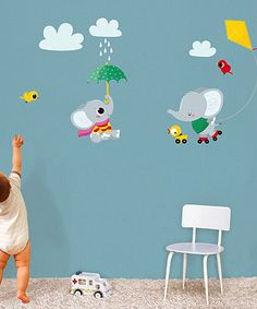 Another great find on #zulily! Elephant Flying Kite Wall Decal Set #zulilyfinds