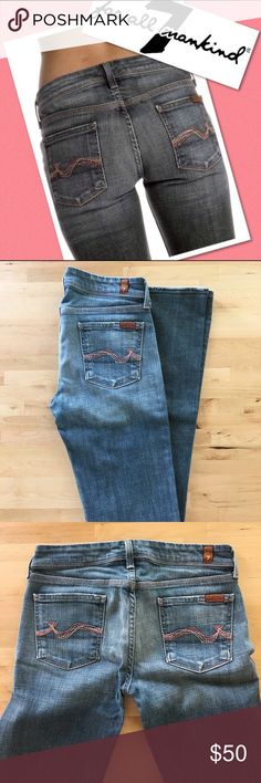 """7 For All Mankind Bootcut Theses jeans are pre-loved but in excellent condition.    98% cotton 2% Lycra.  34"""" inseam. Ready to ship.  Bundle and save. 7 For All Mankind Jeans Boot Cut"""