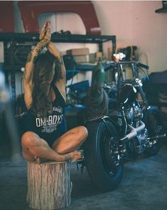 """elegant-apparatus: """"Peace your mind… . @om_boys . @cyrenemazzeiphotographer """" wetsteve3 So Far Over 37,000 Real Biker Babe, Biker Event, Motorcycle and incredible photos of Professional models posing with bikes of all kinds if it has two wheels..."""