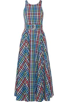 GÜL HÜRGEL Belted Checked Cotton And Linen-Blend Midi Dress. #gülhürgel #cloth #dresses