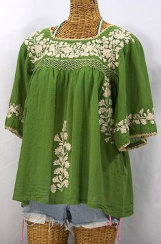 "Earthy vibe! Siren's ""La Marina"" Mexican blouse in Fern Green with Ivory embroidery, $52.95."